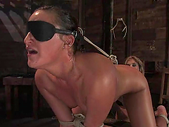 Brunette girl gets her pussy whipped and then toyed