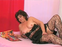 Chubby mature woman toys herself and gets fucked