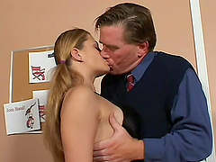Pigtailed blonde Nikki enjoys cunnilingus and gets her butt smashed
