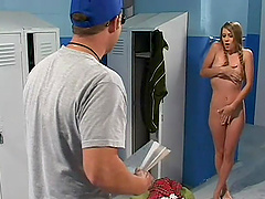 Pigtailed Nicole Brazzle gives a hot blowjob to a horny dude