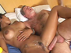 Luscious Brazilian babe giving blowjob then getting pounded hardcore