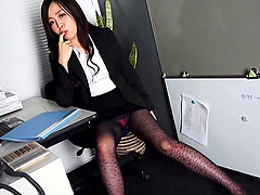 long haired asian milf deepthroats hard cock in office in POV