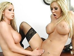Hot Girl on Girl Action In The Office With Big Tittied Blondes