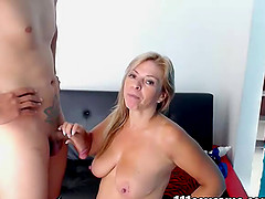 Blonde chubby busty milf sucked dick on webcam