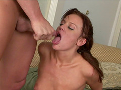 Holly giving dick blowjob then throbbed in close up