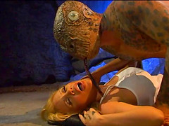 Blonde adventurer gets grabbed and fucked by an ugly monster in a cave