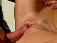 Blonde Carolyn Reese gets talked into playing with a stiff cock