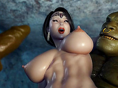 Cartoon fantasy. Beauty Samantha in a double penetrtion threesomes with 2 monsters
