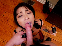 Kinky Latina brunette Rina Ellis licks the cum off of his shoes