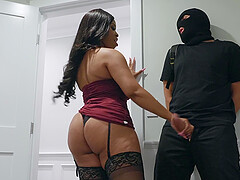 Ebony whore Aryana Adin pounded and cum covered by a burglar