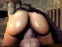 Booty and busty Zina fucked by a Zombie with a monster dick and with a monster cumshot.
