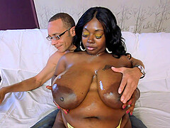 Ebony BBW slut Lovely Libra bounces her fat ass on a big hard dick