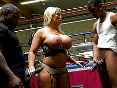 Bombshell MILF slut Alura Jenson pounded and cum sprayed by black guys