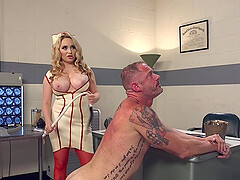 sexy nurse Aiden Starr adores fuck and a blowjob on the table