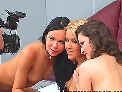Three sexy babes play lesbian games. Backstage video