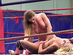 Cathy Heaven and Ivana Sugar eat each other's vags on a ring