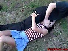 Amateur brunette in miniskirt gets her mouth and pussy banged outdoors