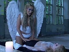 Amazing girls in angel costumes have hot lesbian sex