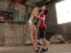 Erika Takashita gives a handjob to a stranger in an abandoned house