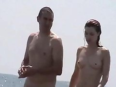 Nude beach chicks get their pussies filmed with a voyeur's cam
