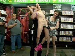 Luna Light gets her pussy toyed and fucked in a shop