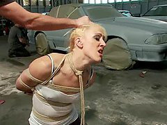 Tied up blonde gets gangbanged in a car service