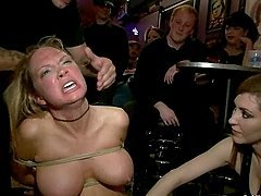 Curvaceous Rain DeGrey gets gangbanged on a pool table