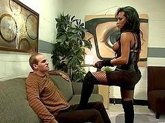 Jaquelin Braxton the sexy tranny fucks a guy in his ass