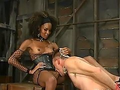 Slender ebony siren sticks her fat cock in Wild Bill's ass