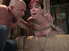 Kiny redhead gets sspended and dicked by her master
