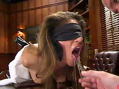Sexy girl gets seized and then fucked in an office