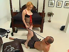 Aiden Starr plays with Ryder Coxx's cock and balls in BDSM scene