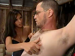 DannyBoy gets whipped and toyed by busty Shy Love
