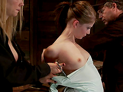 Slim Sensi Pearl gets hog tied and toyed by Rain DeGrey