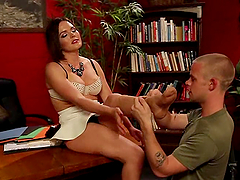 Krissy Lynn gives a footjob and gets fucked doggy style