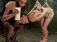 Pretty Kiera King gets tied up and toyed in both holes