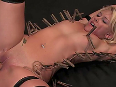 Luxury blond is being tortured by a luscious brunette