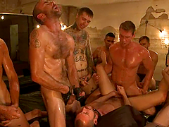 Lewd poofter gets his mouth and ass fucked by a group of horny men