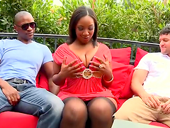 Curvy black milf Layla Monroe gets stunningly fucked by two men