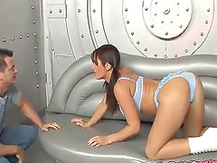 Fair brunette babe with a nice ass getting screwed doggy style