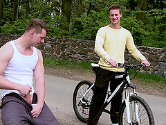 Boyish gay guy getting pounded in a hot outdoor action