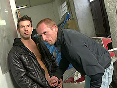 Gay man sucking dick in the garage and pounding asshole