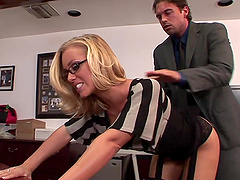Slutty Blonde Secretary Gets Nailed Hard In The Office