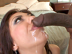 Satine is fucked by a big black cock after playing with her pussy