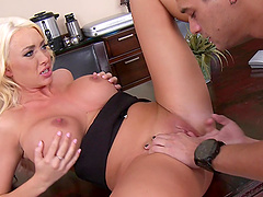 Blonde with big tits screaming as her shaved pussy is banged hardcore in the office