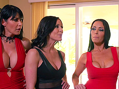 Three milfs with fake tits make love to his hard dick in a foursome