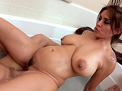 Tattooed Wife gets hairy pussy feasted Hardcore while taking bath