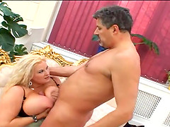 Big tits of chubby woman suits better for tit fuck
