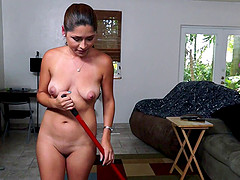 Beautiful Latina Maid With A Shaved Pussy Enjoying A Hardcore Fuck
