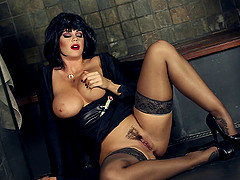 Raven Haired MILF has Erotic Fun in Her Heels and Nylons